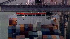 AERIAL United Kingdom-Southampton Container Port Stock Footage