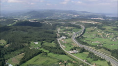 AERIAL Spain-Landing At Asturias Airport - stock footage