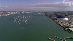 AERIAL United Kingdom-Southampton Water Stock Footage