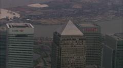 AERIAL United Kingdom-Canary Wharf Stock Footage