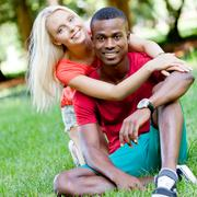 Young couple in love summertime fun happiness romance Stock Photos