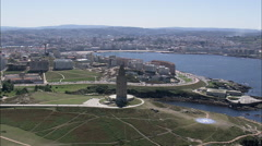 AERIAL Spain-Tower Of Hercules Stock Footage