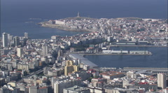 AERIAL Spain-Coruna Harbour Stock Footage