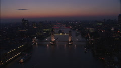 AERIAL United Kingdom-London At Night Stock Footage