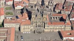 AERIAL Spain-Cathedral Of Santiago De Compostela Stock Footage