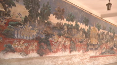 Mid Shot of the Mural at the Royal Palace complex in Phnom Penh, Cambodia Stock Footage