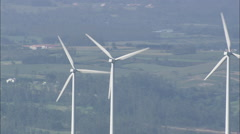 AERIAL Spain-Revealing Wind Turbines On Hill Stock Footage