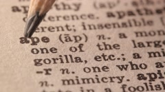 Ape - Fake dictionary definition of the word with pencil underline Stock Footage