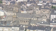 AERIAL Spain-Lugo Cathedral Stock Footage