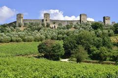 Ramparts of the medieval village of Monteriggioni Province of Siena Tuscany Kuvituskuvat