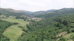 AERIAL Spain-Low Approach To Monastery Of Santa Maria La Real Of Oseira Stock Footage