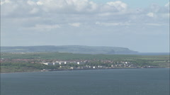 AERIAL United Kingdom-Filey And Filey Bay Stock Footage