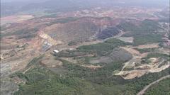 AERIAL Spain-Mine Hole At Minos De Riotinto Stock Footage