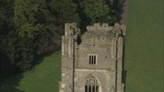 AERIAL United Kingdom-Fountains Abbey Stock Footage