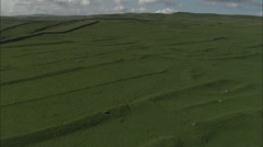 AERIAL United Kingdom-Ancient Field Patterns At Grassington Stock Footage