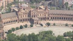 AERIAL Spain-Parque Maria Luisa Stock Footage