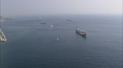 AERIAL Gibraltar-Gibralter Harbour, Ships And Wreck Stock Footage