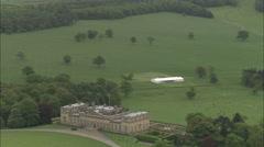 AERIAL United Kingdom-Harewood House Stock Footage