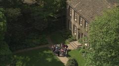 AERIAL United Kingdom-Haworth And The Bronte House Stock Footage