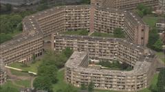 AERIAL United Kingdom-Park Hill, Sheffield Stock Footage