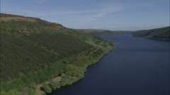 AERIAL United Kingdom-Lake Vyrnwy And Over Dam Stock Footage