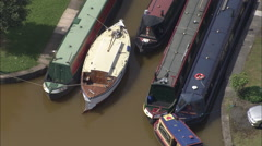AERIAL United Kingdom-Bridgewater Canal At Worsley Delph Stock Footage