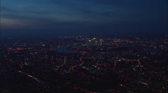 AERIAL United Kingdom-Canary Wharf At Night Stock Footage