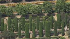 AERIAL Spain-Jardines Del Alcazar Stock Footage