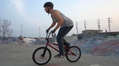 BMX Crash -down whip on quarter pipe -Extreme Sports Stock Footage