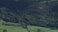 AERIAL United Kingdom-Ac-130 Hercules On Training Flight Over Windermere Stock Footage