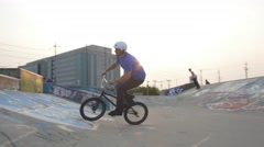 BMX Trick - peg chink slow motion- Extreme Sports Stock Footage