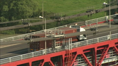AERIAL France-Tancarville Bridge Stock Footage