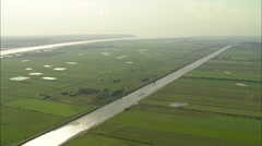 AERIAL France-Tancarville Canal Stock Footage