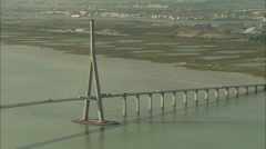 AERIAL France-Normandy Bridge Stock Footage