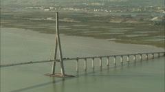 AERIAL France-Normandy Bridge - stock footage