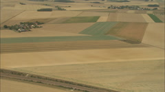 AERIAL France-Flight Over Farmland Stock Footage