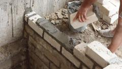 Masonry walls in the construction of a new home Stock Footage