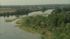 AERIAL France-Flight Up The Loire Stock Footage