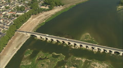 AERIAL France-Old Bridge At Beaugency Stock Footage