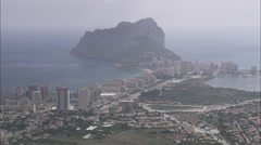 AERIAL Spain-Rock Of Ifach Stock Footage