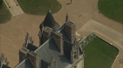 AERIAL France-Chateau D'Amboise Stock Footage