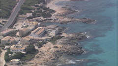AERIAL Spain-Coast And Cal De Sant Agusti Stock Footage