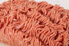 Block of commercial beef mince from a store Stock Photos