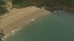 AERIAL France-Brittany Beaches And Rocky Coastline Stock Footage