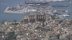 AERIAL Spain-Palma Cathedral Stock Footage