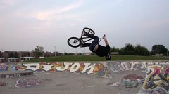 BMX Trick -slow motion backflip - Extreme Sports Stock Footage