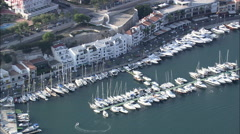 AERIAL Spain-Mahon Harbour Stock Footage