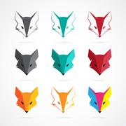 Vector image of an fox face design on white background - stock illustration