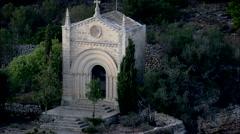 AERIAL Spain-Ermita De Sant Honorat Stock Footage
