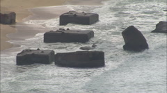 AERIAL France-WW2 Sea Defences Stock Footage